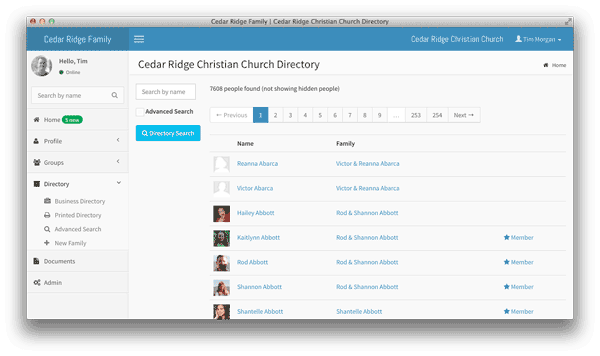 Church.IO Directory Screenshot